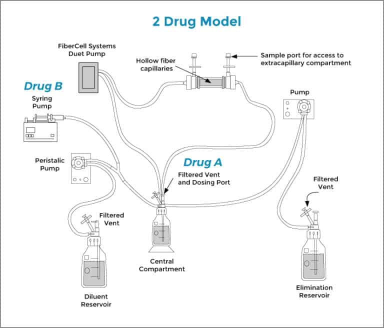 2 drug hollow fiber system for combination drug pk/pd in vitro