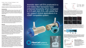 Poster about scaling up EV production from amniotic stem cells cultured in a hollow fiber bioreactor
